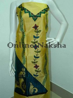 Designer Dress Materials for Online Shopping Chanderi Silk Kurti Pattern