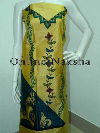Designer Dress Materials for Online Shopping Chanderi Silk Kurti Pattern
