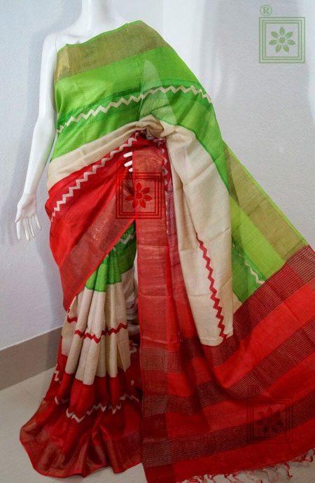 Printed Tussar Zari Sari