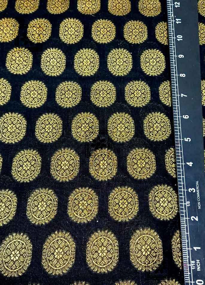 Black Fabric All Over Golden Round Work