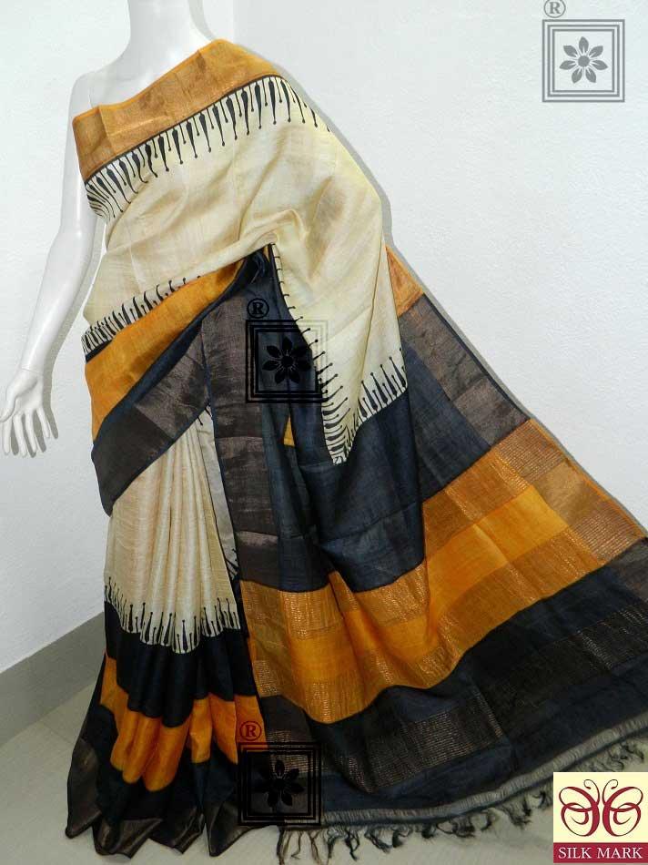 Zari Tussar Silk Printed Saree