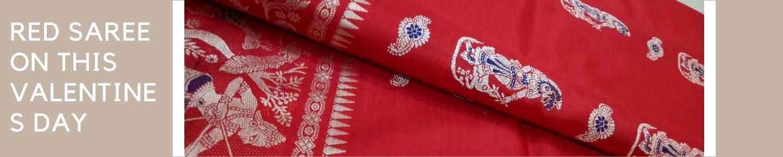 valentines day red saree