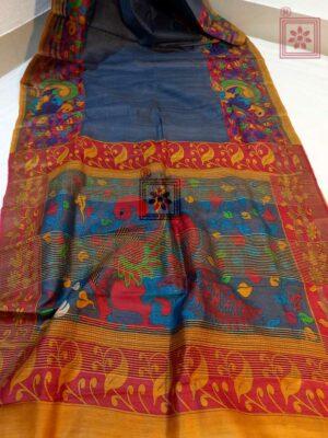 Kalamkari Zari Border Tasar Silk