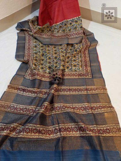 Ajrakh Printed Tussar Silk Saree