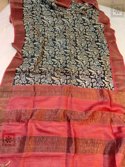 Printed Zari Border Tussar Silk