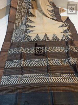 Printed Zari Border Tussar Sari